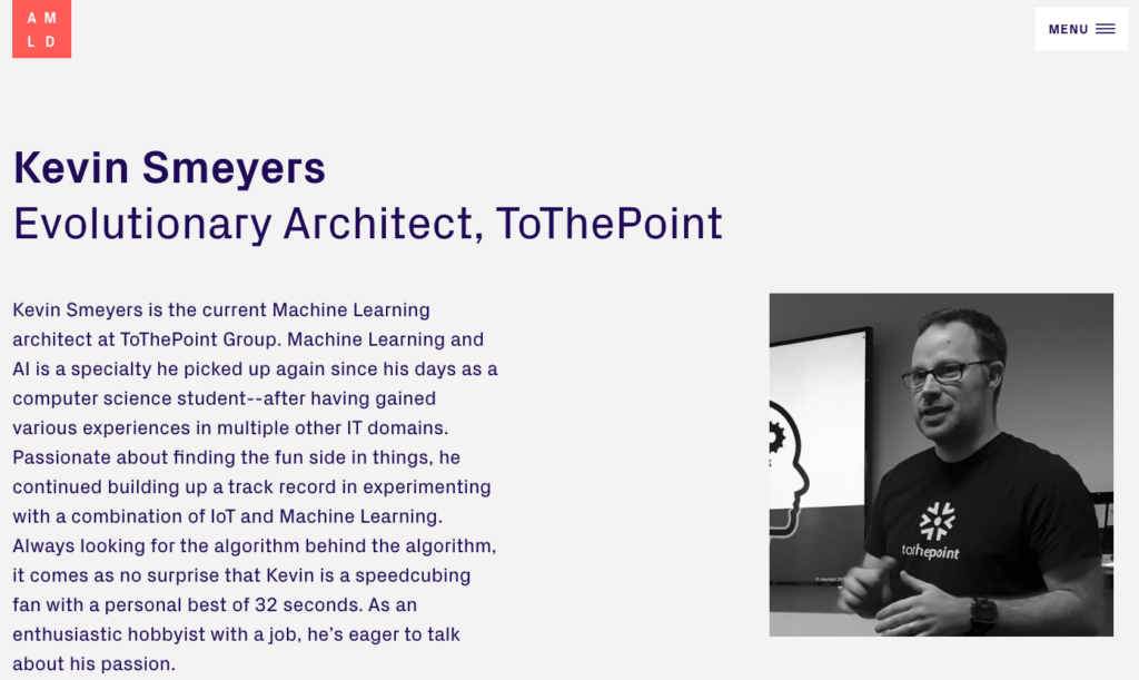 Kevin Smeyers, machine learning expert and technical architect at ToThePoint is featured on the applied machine learning days website