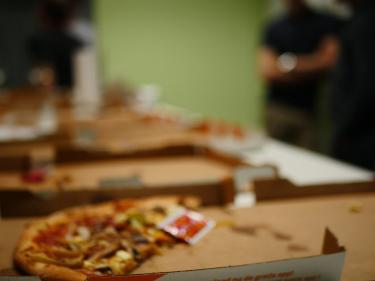 Pizza on a box at the tothepoint premises