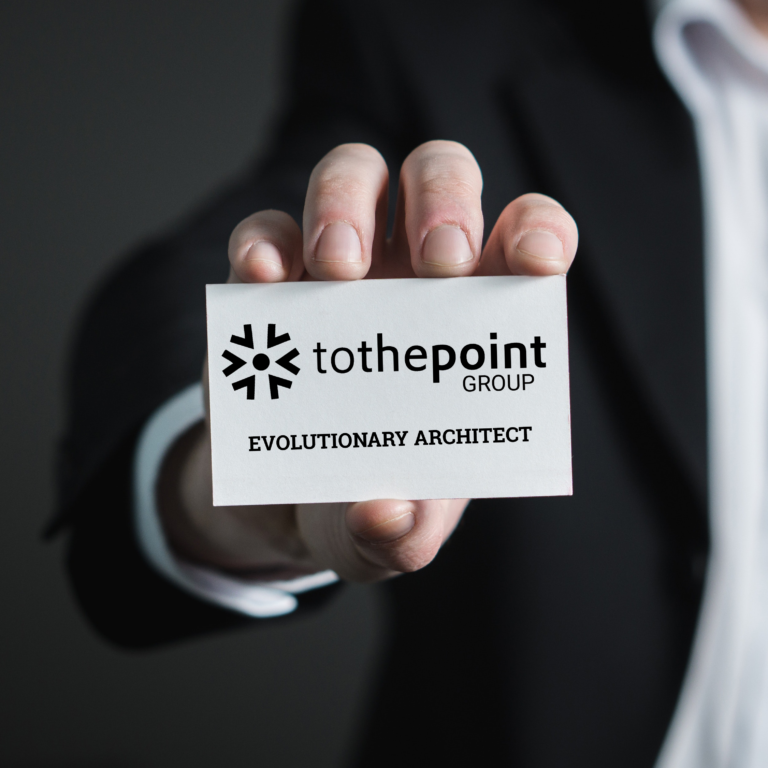 evolutionary architect with tothepoint logo on business card