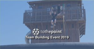 Les Ondes ToThePoint Team Building Weekend FB Banner with person in frame jumping of a high building