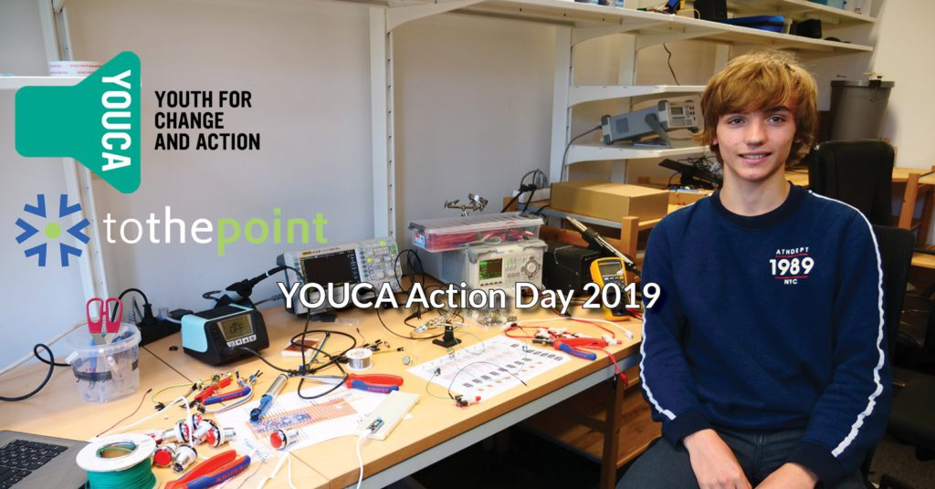 YOUCA stands for Youth for change and action. ToTHePoint offered a job for a day to a promising student. his wage goes towards charity.