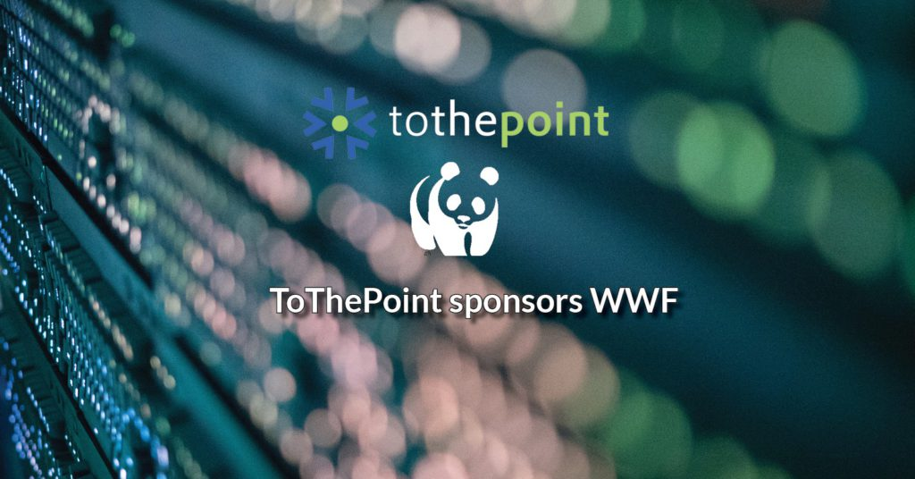 WWF logo white with ToThePoint logo white on background of the wall